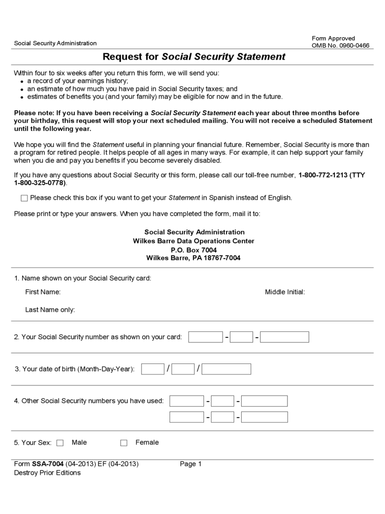 Request for Social Security Statement Sample Form