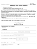 Request for Social Security Statement Sample Form Free Download