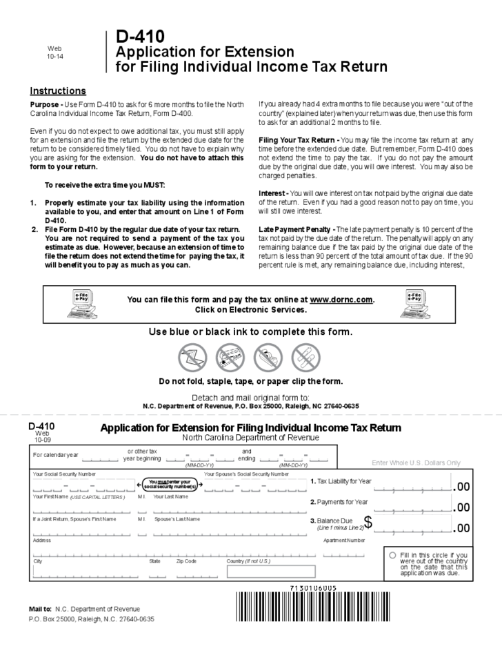 1 Application For Extension For Filing Individual Income Tax Return