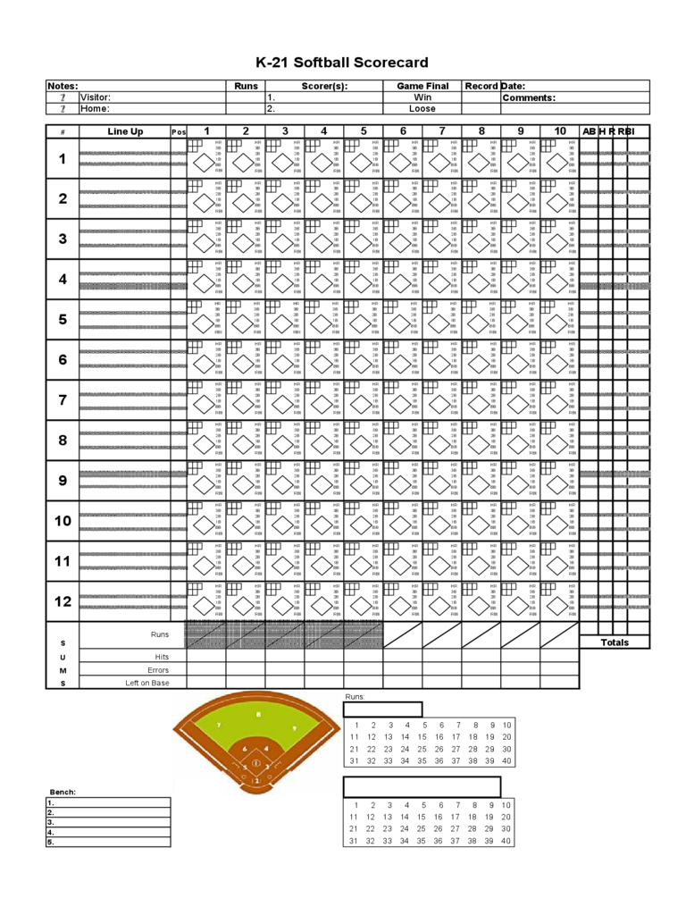 Softball score sheet 3 free templates in pdf word for Softball scorecard template