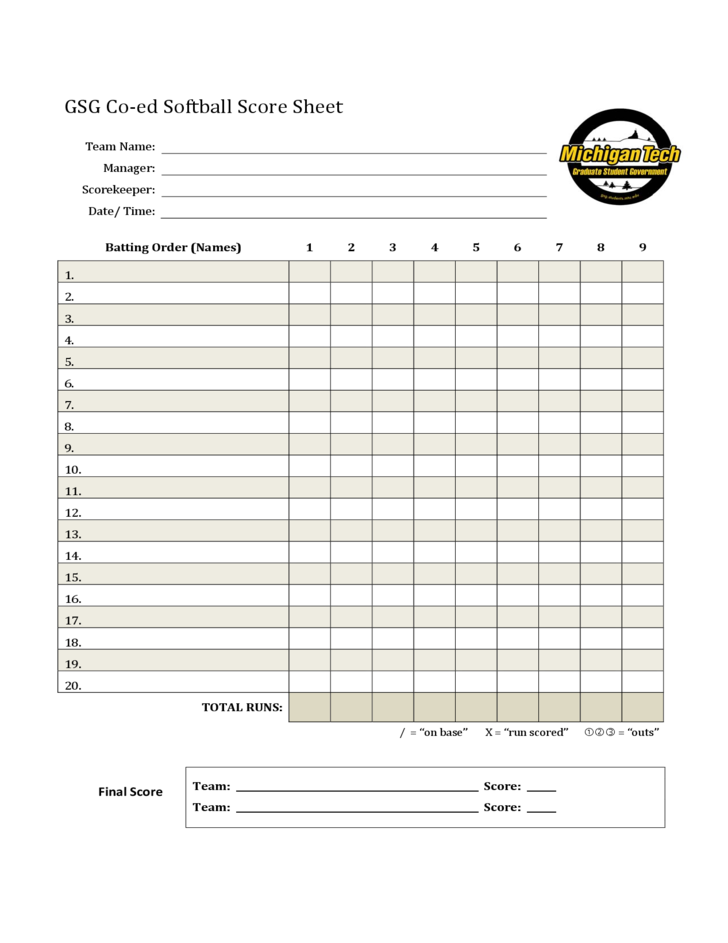 Softball Score Sheet Sample Free Download – Sample Scrabble Score Sheet