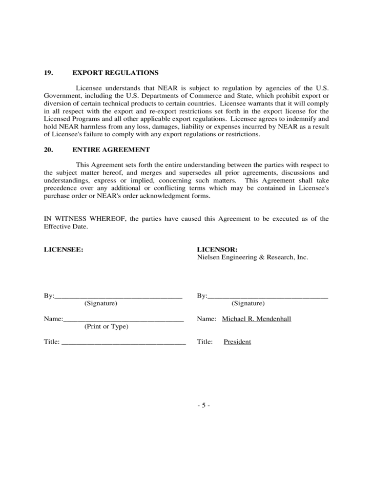 5 Sample Software License Agreement  Export Agreement Sample