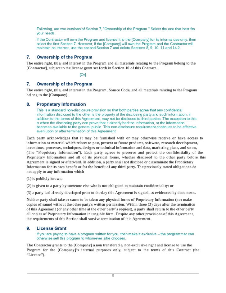 Custom Software Development Agreement Free Download