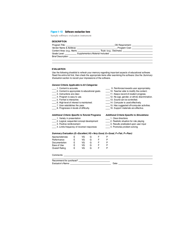 Software Evaluation Form Sample