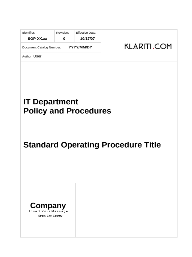Sop Template 6 Free Templates In Pdf Word Excel Download Standard Operating  Procedure Template Alramifo Gallery  Free Standard Operating Procedures Template Download