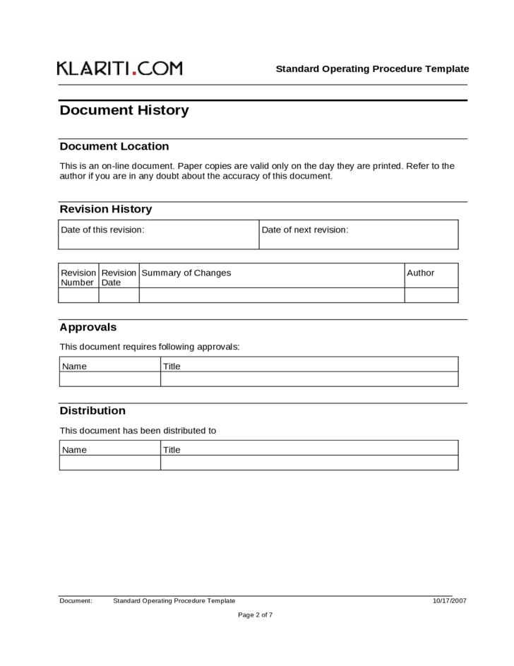 Standard Operating Procedure Template Free Download – Free Standard Operating Procedure Template Word