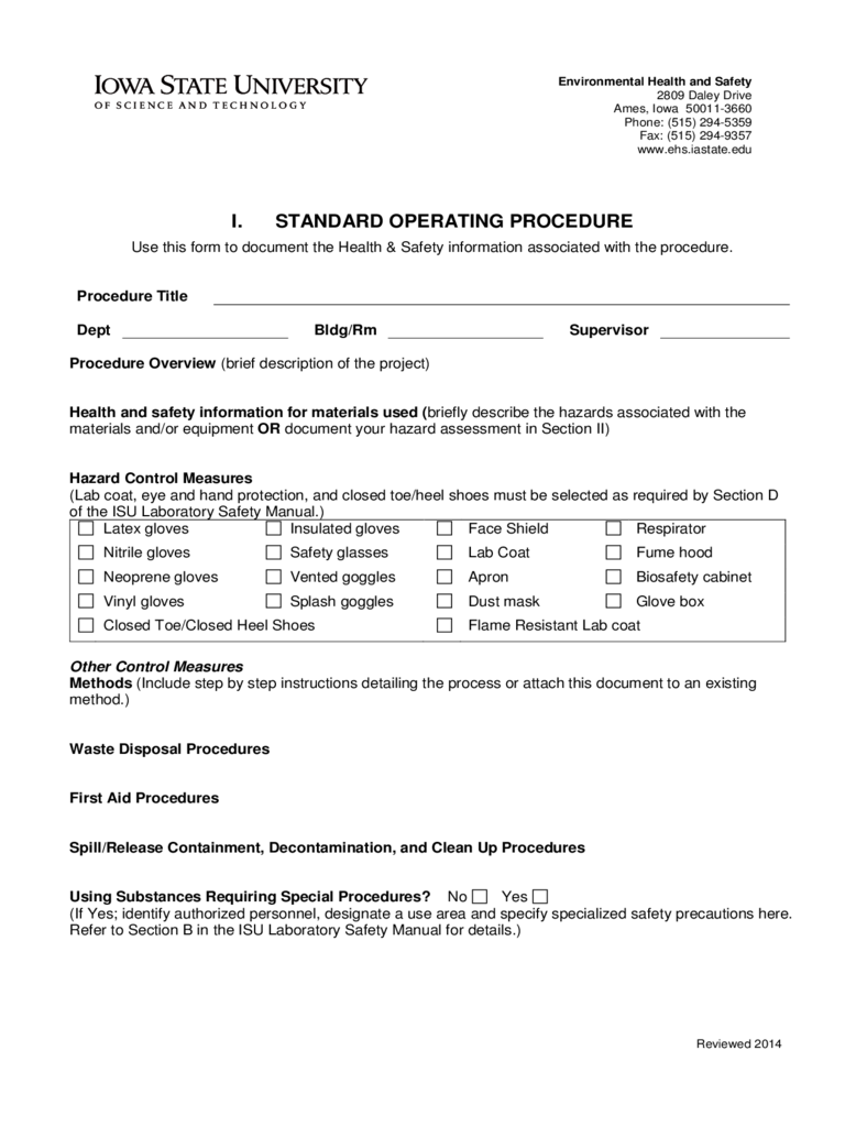 Doc417540 Free Standard Operating Procedures Template Download – Free Standard Operating Procedure Template Word