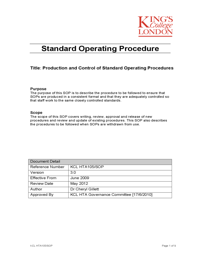 Standard Operating Procedure   Kingu0027s College London  Free Standard Operating Procedure Template Word