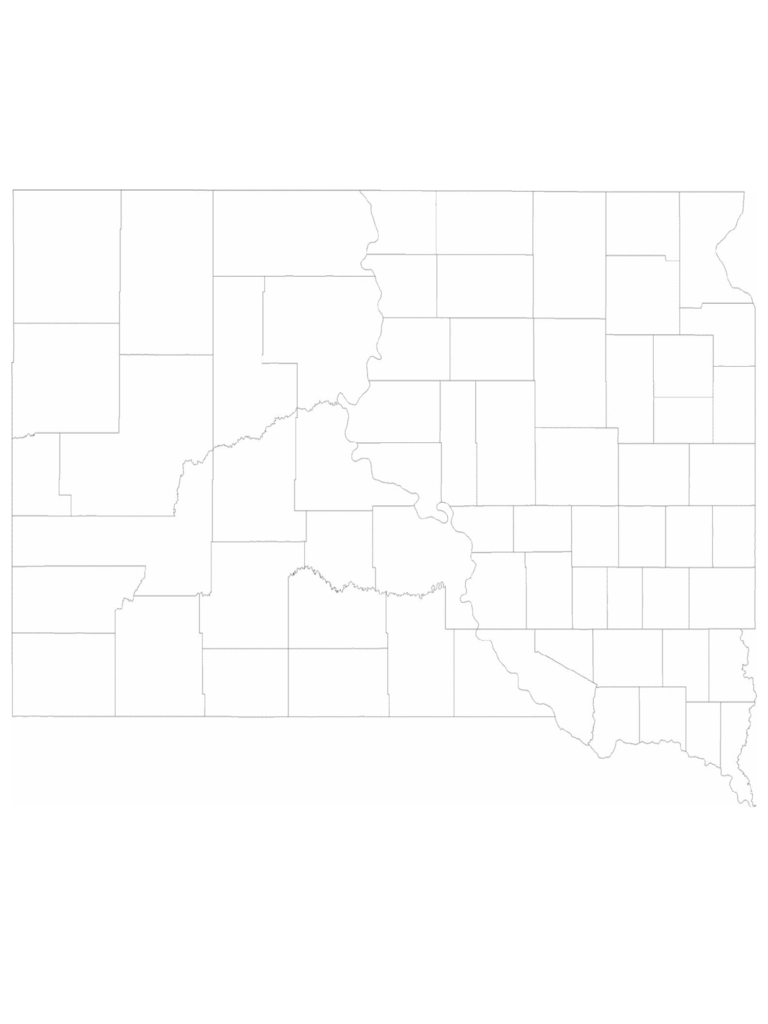 Blank South Dakota County Map