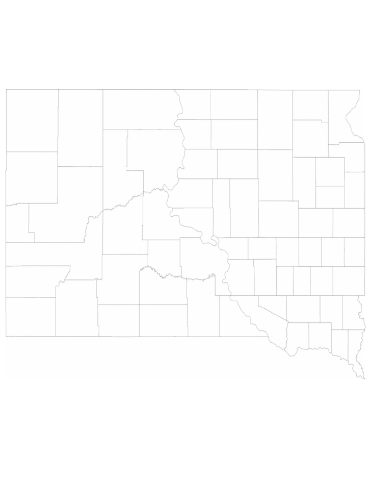 image relating to South Dakota County Map Printable known as Blank South Dakota County Map Cost-free Down load