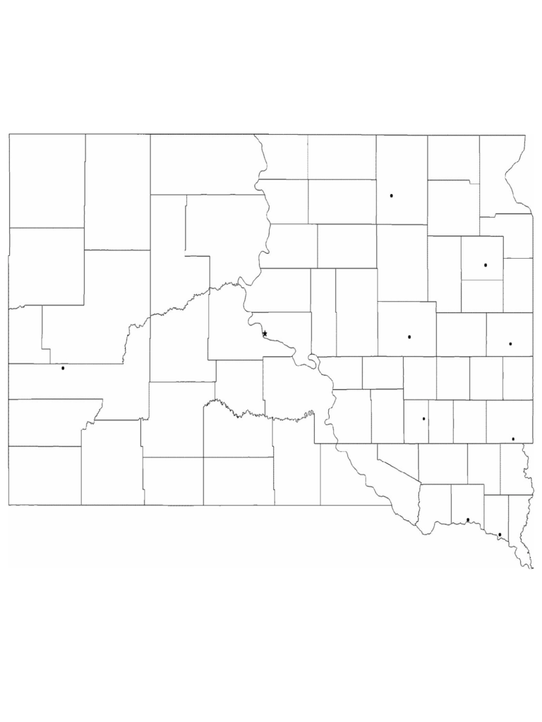 Blank South Dakota City Map
