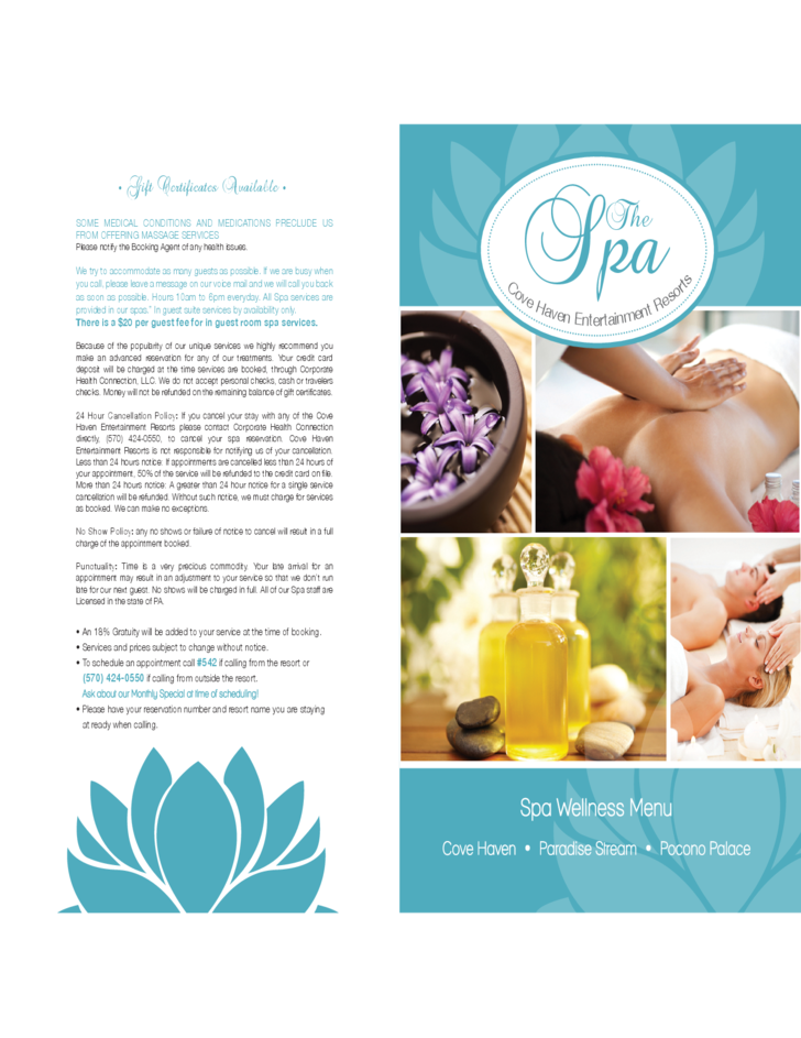 standard spa menu template free download