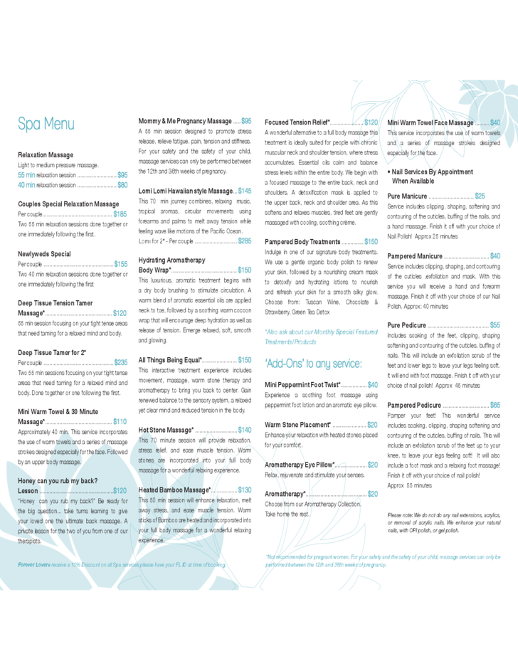 Standard Spa Menu Template Free Download .