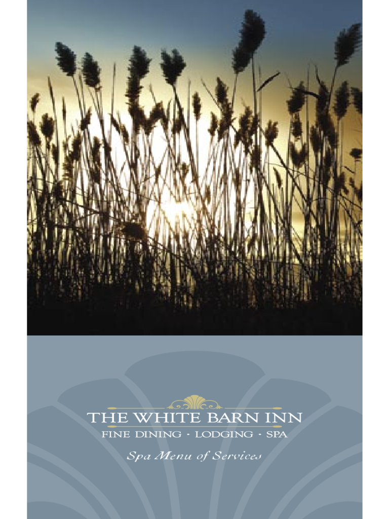 Spa Menu of Service - the White Barn Inn