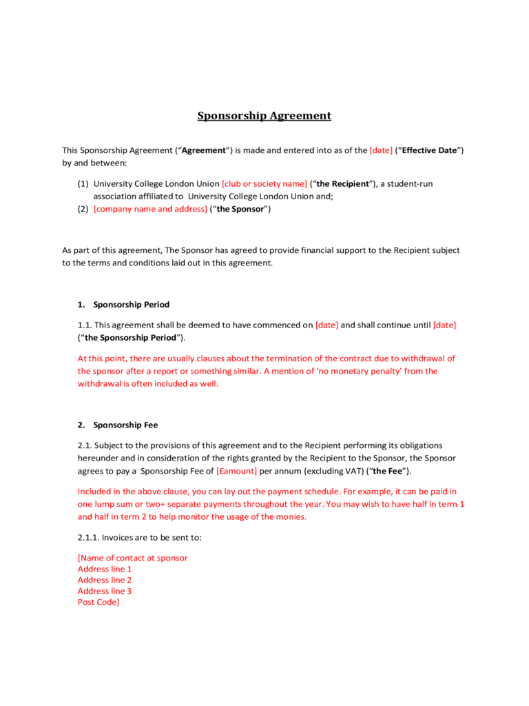 Sponsor Contract Template 1 Free Templates in PDF Word Excel – Sponsorship Contract