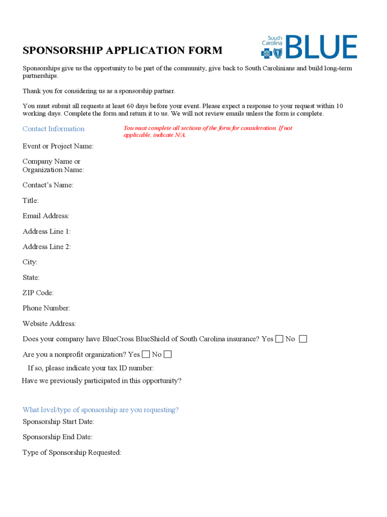 Sponsorship application form 1 free templates in pdf for Sponsor application template
