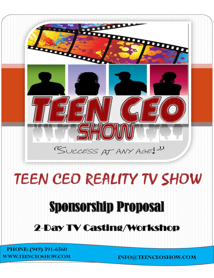 teen ceo reality show sponsorship proposal free download