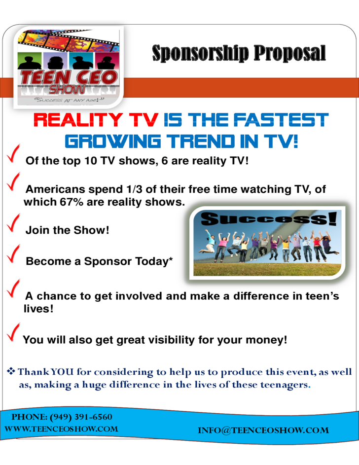 Teen ceo reality show sponsorship proposal free download for Tv commercial proposal template