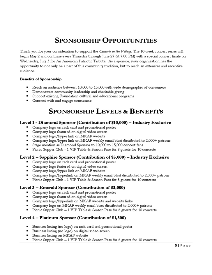 Doc600700 Sample of Proposal for Sponsorship Sample – Example of a Sponsorship Proposal