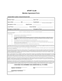 Sport Club Member Agreement Form Free Download