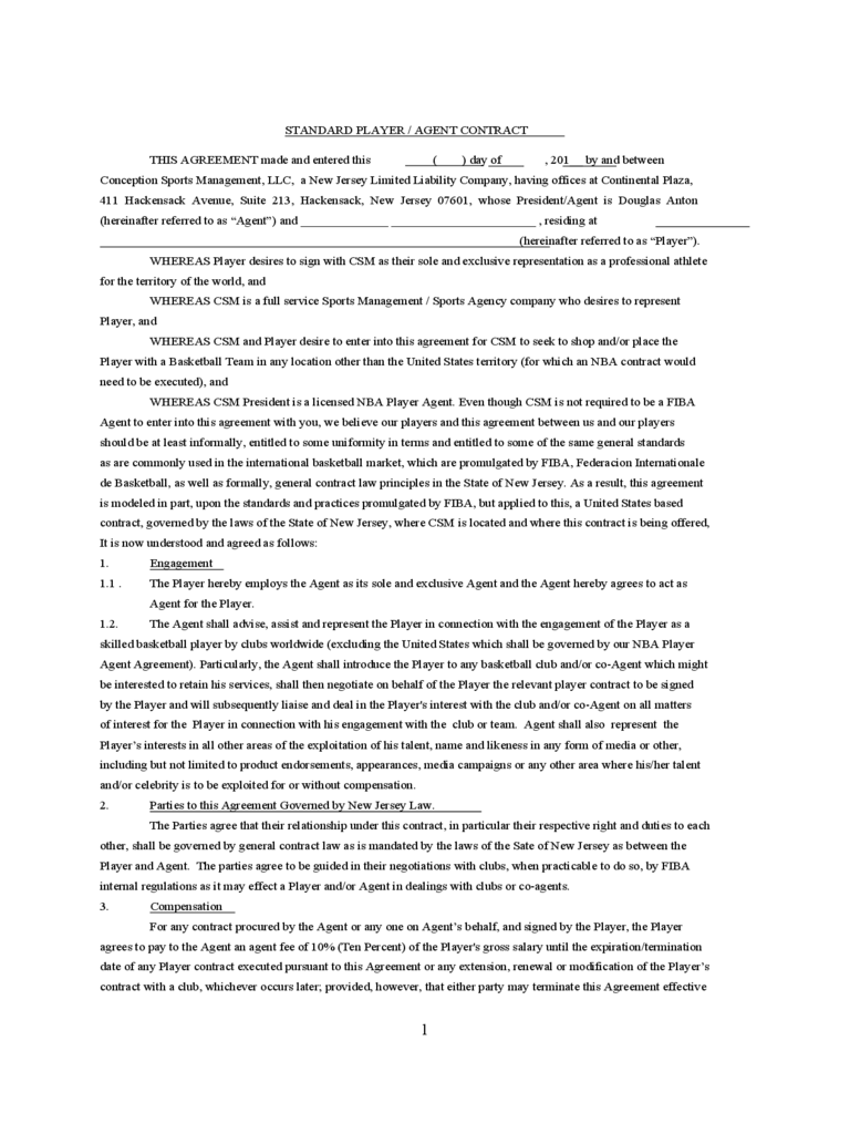 Sport Contract Template 2 Free Templates In Pdf Word
