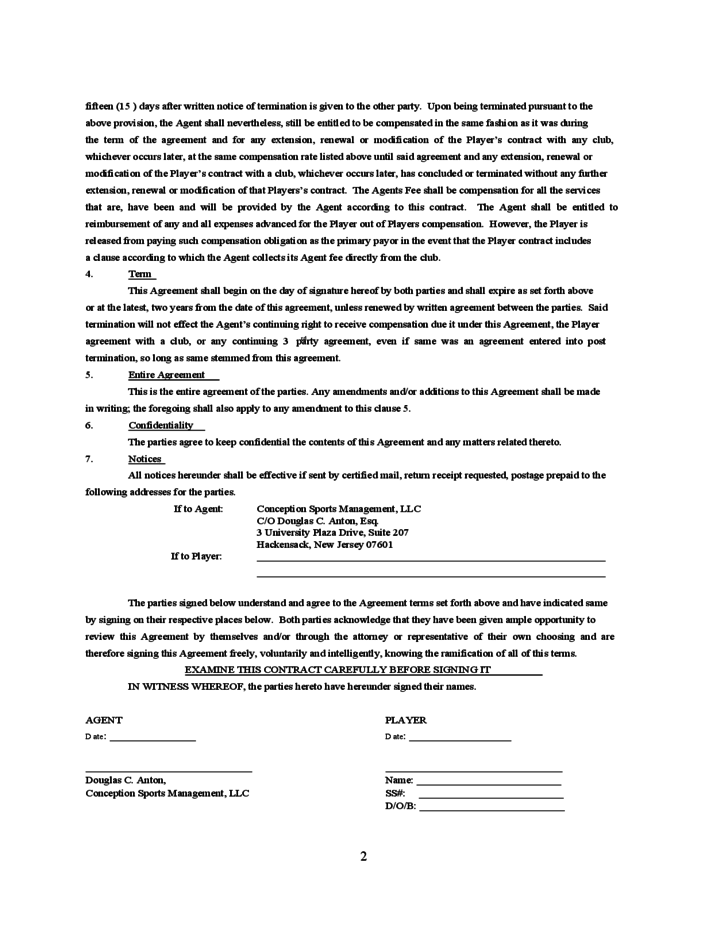 standard player  agent contract free download