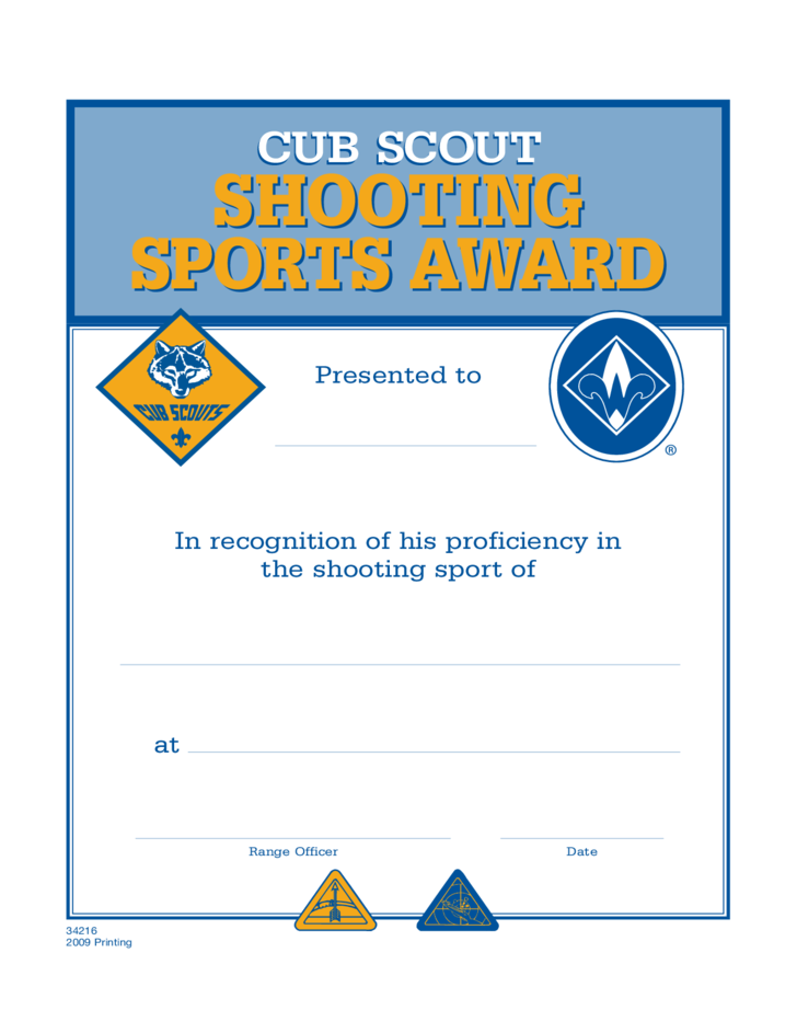 Sport Certificate Templates Shooting Sports Certificate Template Free Download