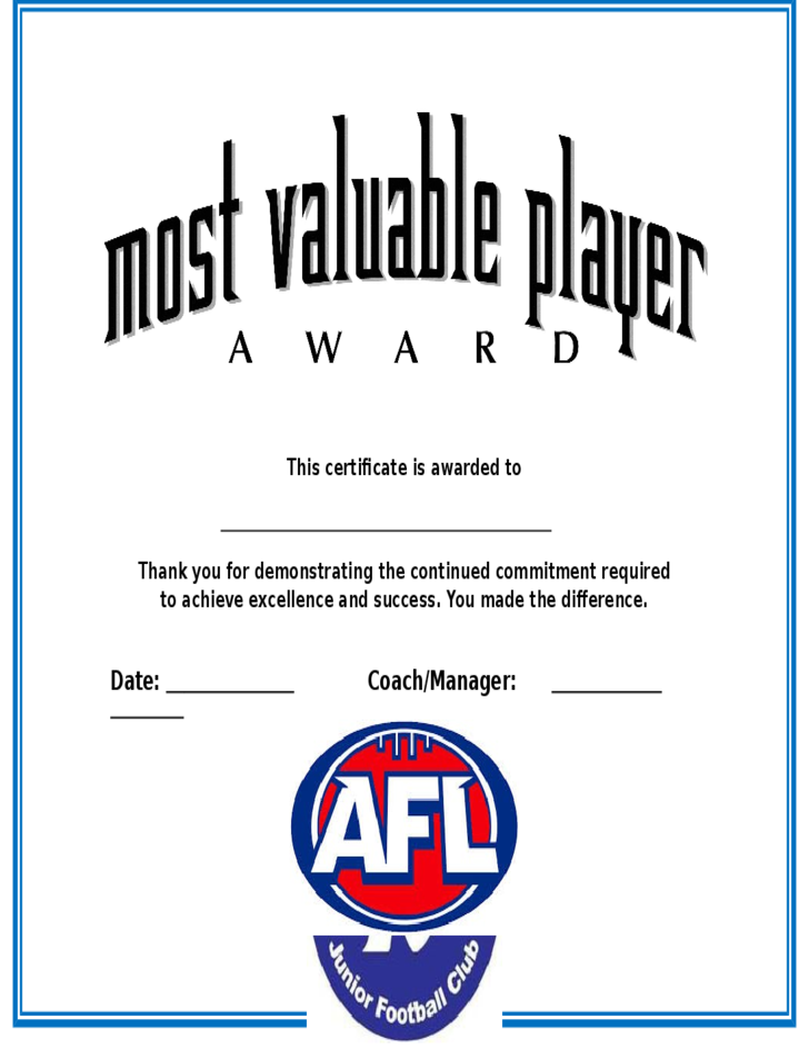 Most valuable player award certificate free download for Basketball mvp certificate template