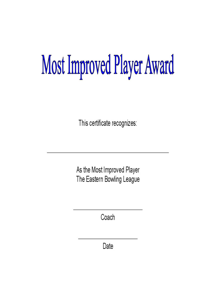 Most Improved Player Award Certificate Free Download