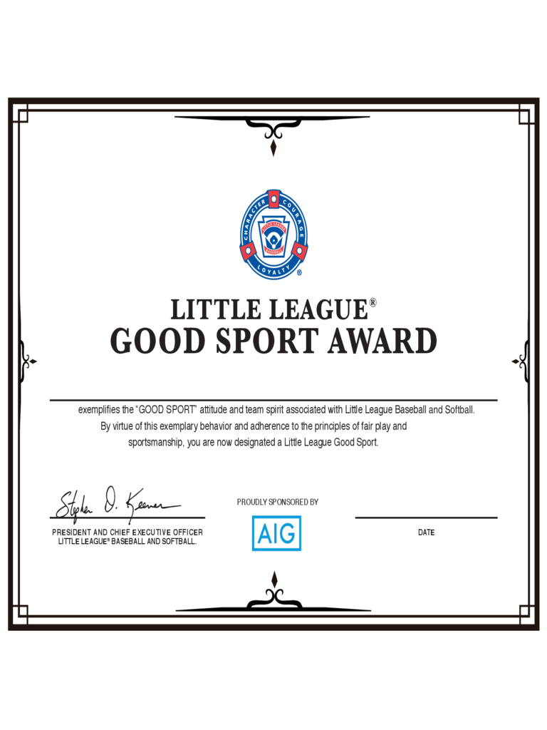 Good Sport Certificate - Little League