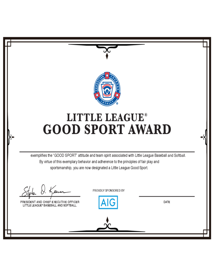 Good Sport Certificate - Little League Free Download