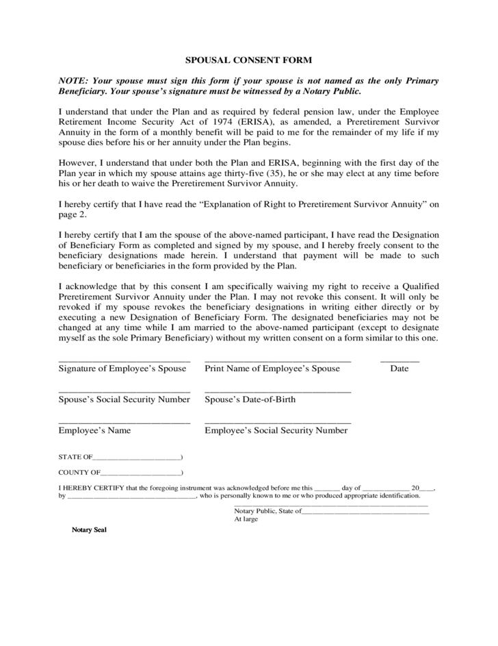 spousal consent form miami free download