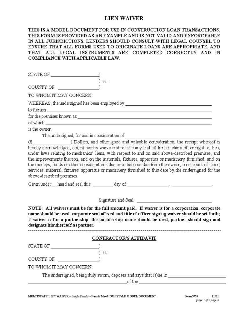 Standard lien waiver form 4 free templates in pdf word for Final lien waiver template