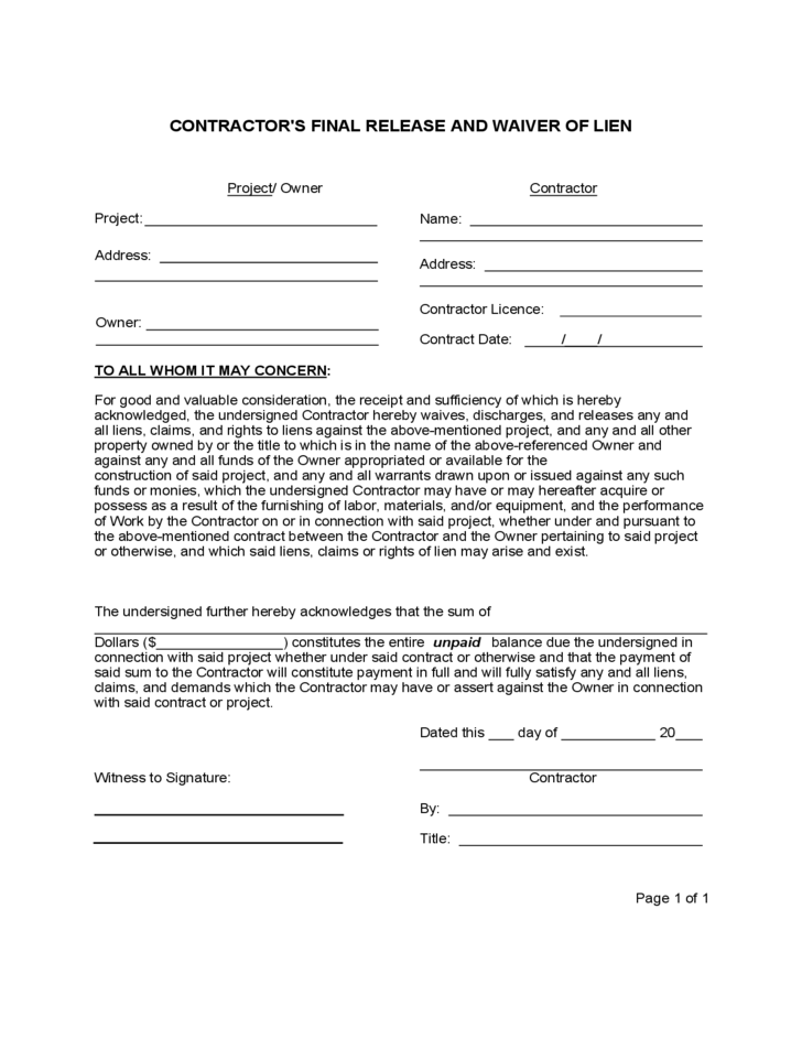 Contractor 39 s final release and waiver of lien template for Final lien waiver template