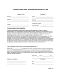 Contractor's Final Release And Waiver Of Lien Template Free Download