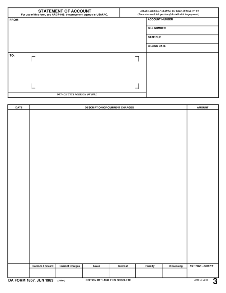 Tabular Statement of Account Template
