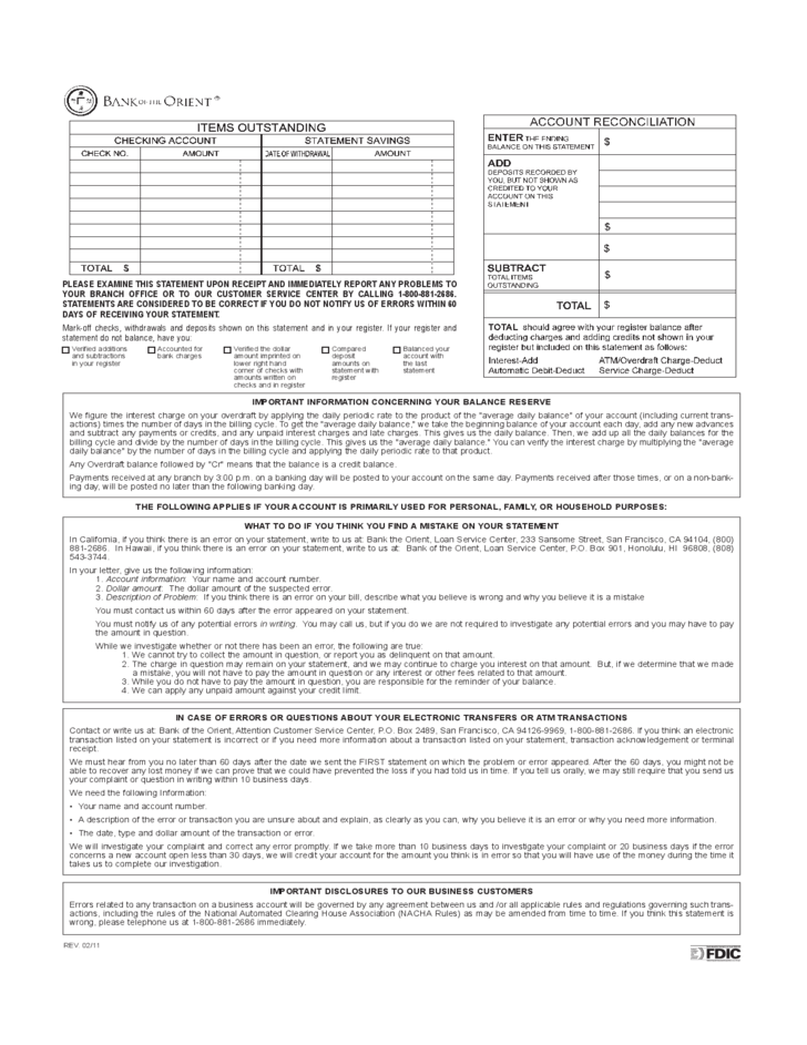Account Statement Disclosure - Bank of the Orient