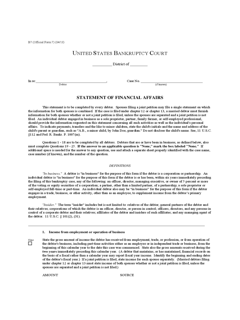 Statement of Financial Affairs Form