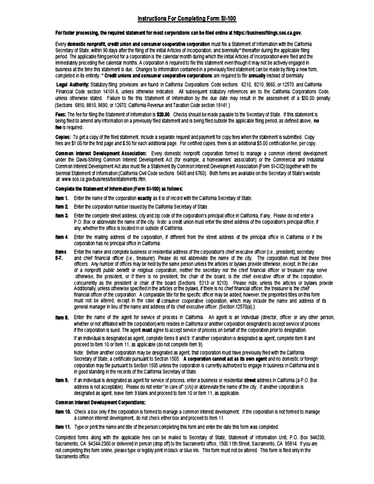 Statement of Information Form - California Free Download