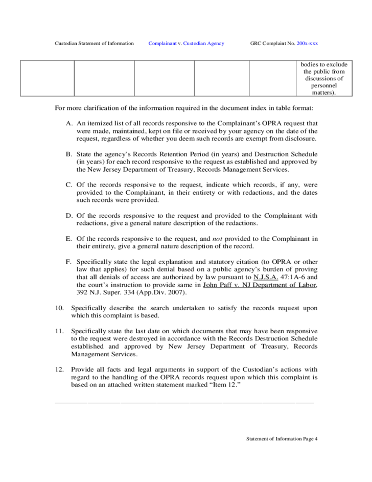 Statement Of Information Form New Jersey Free Download