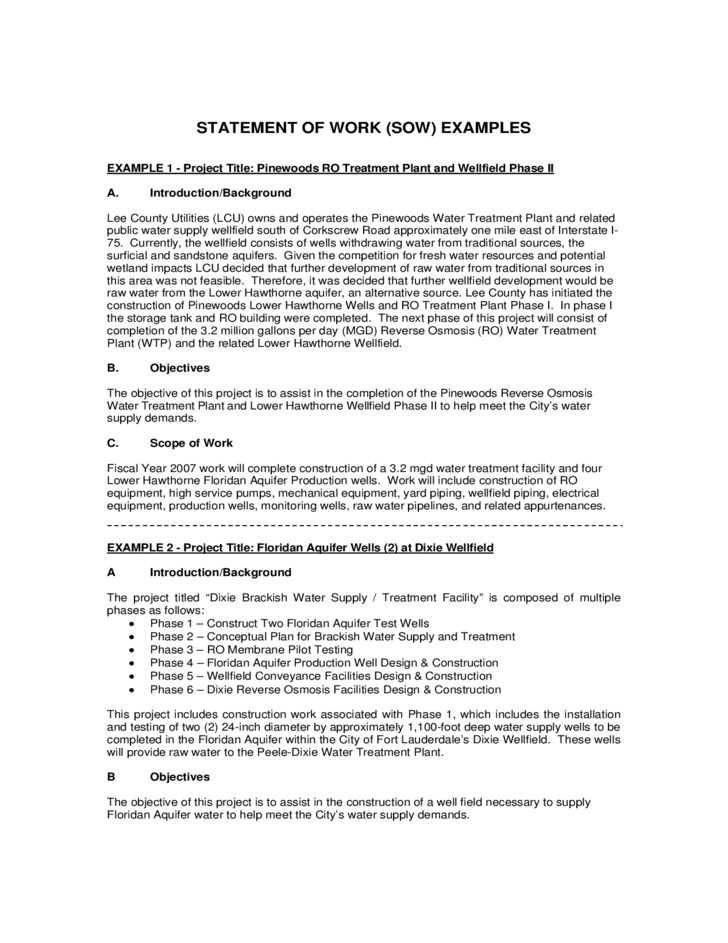 Statement of work example free download for Statement of works template