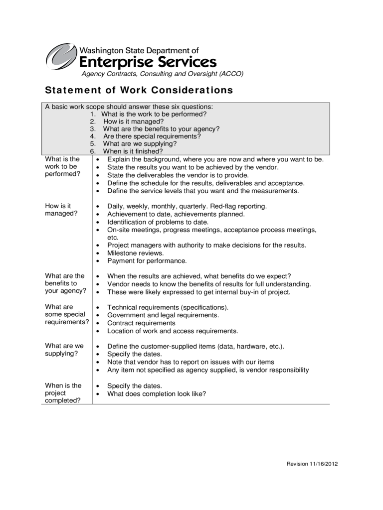Statement of Work Considerations Free Download