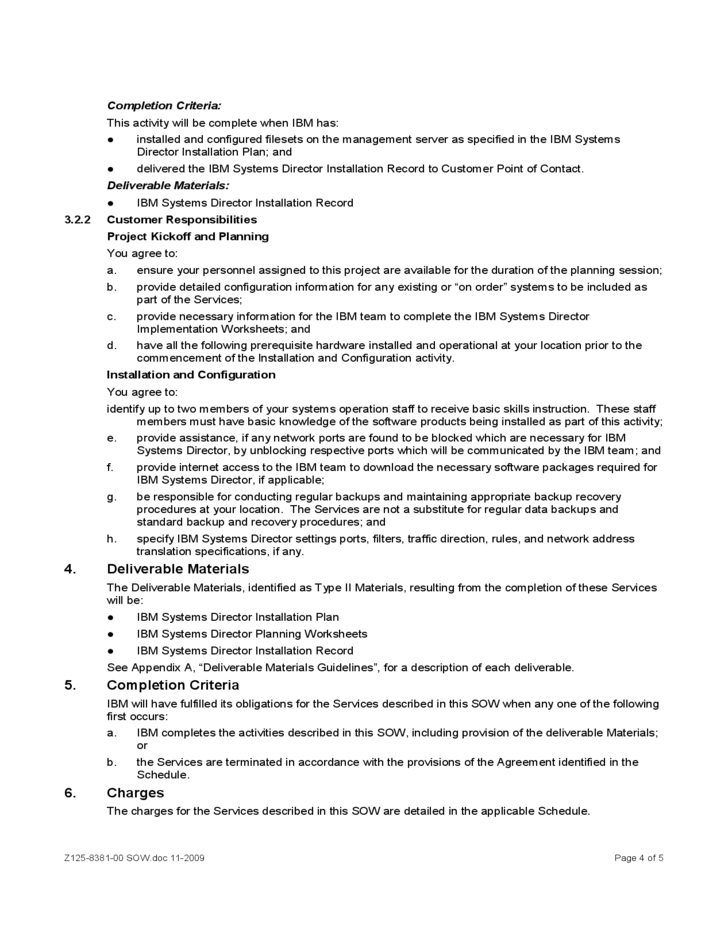 Sample Statement of Work for Services - IBM Free Download