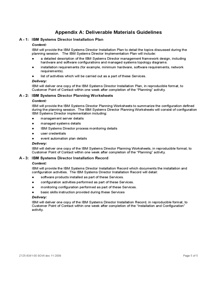 Sample Statement of Work for Services IBM Free Download – Sample Statement of Work
