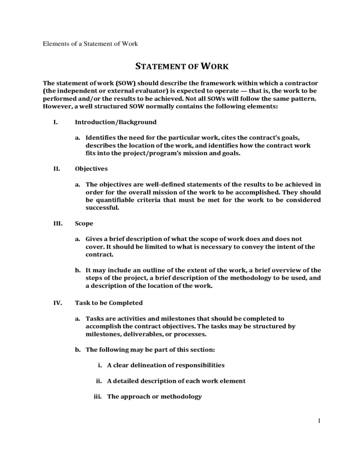 statement of work elements template free download
