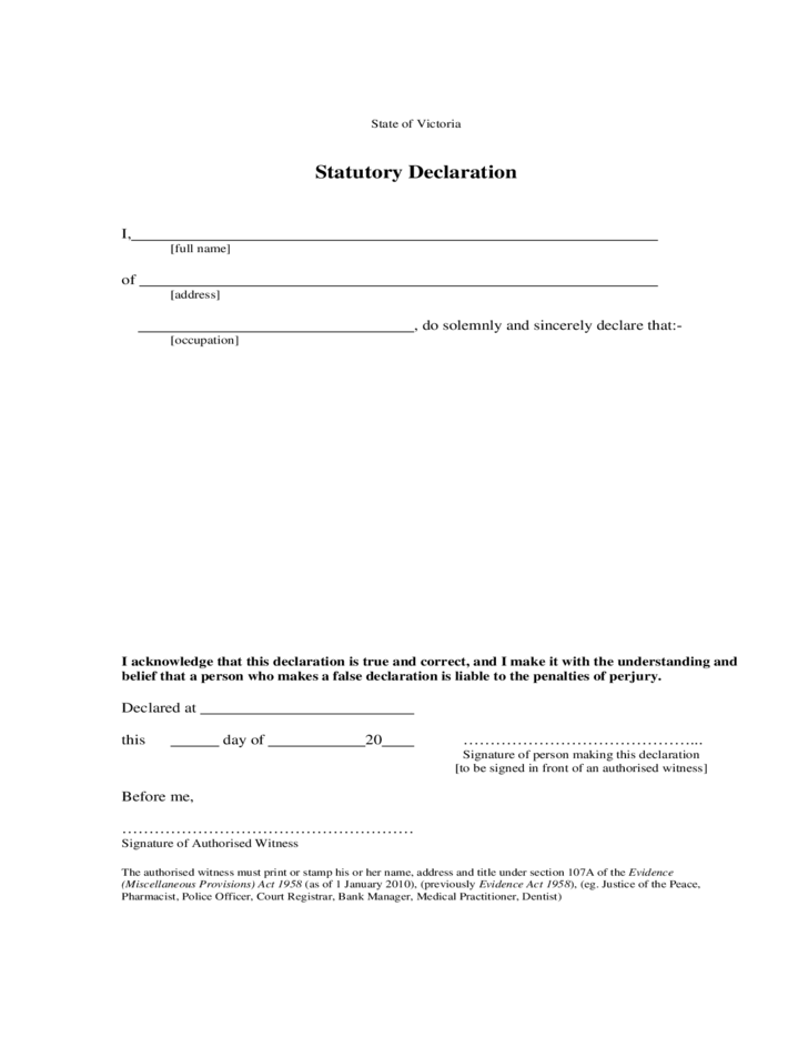 Statutory declaration form template