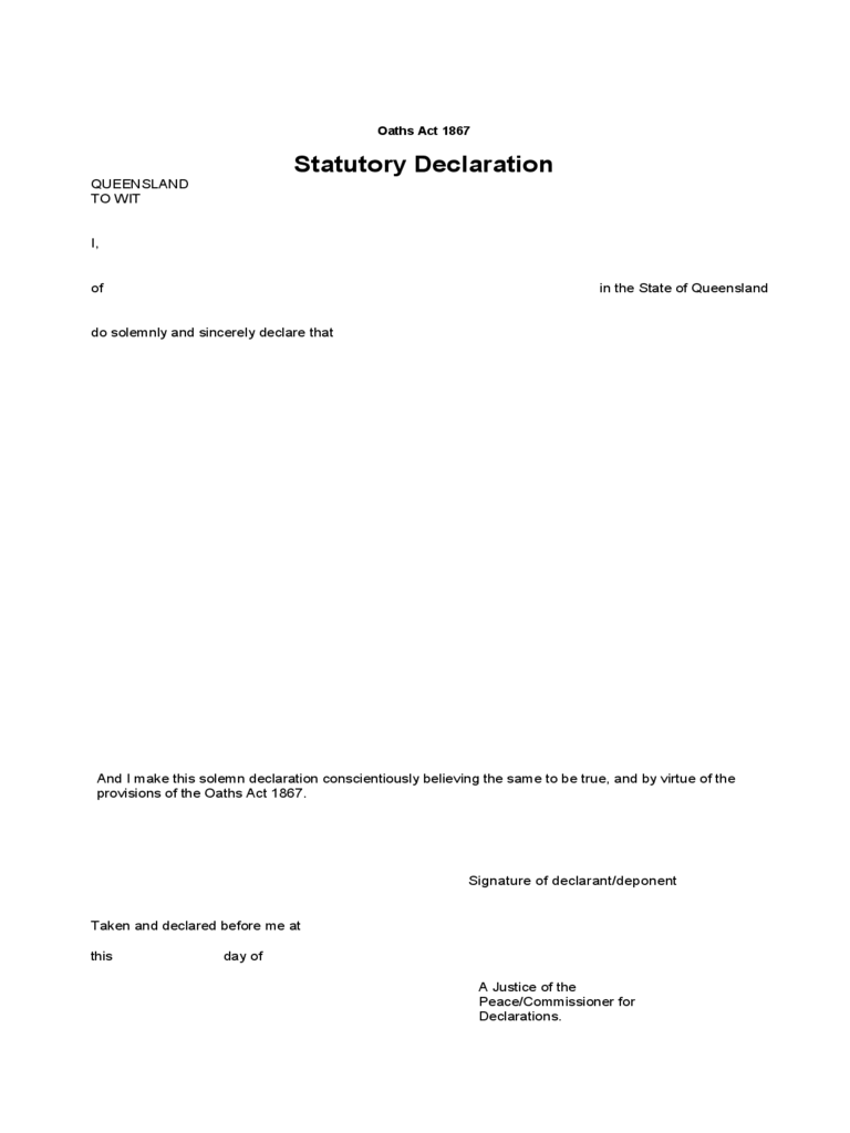 Statutory Declaration - Queensland