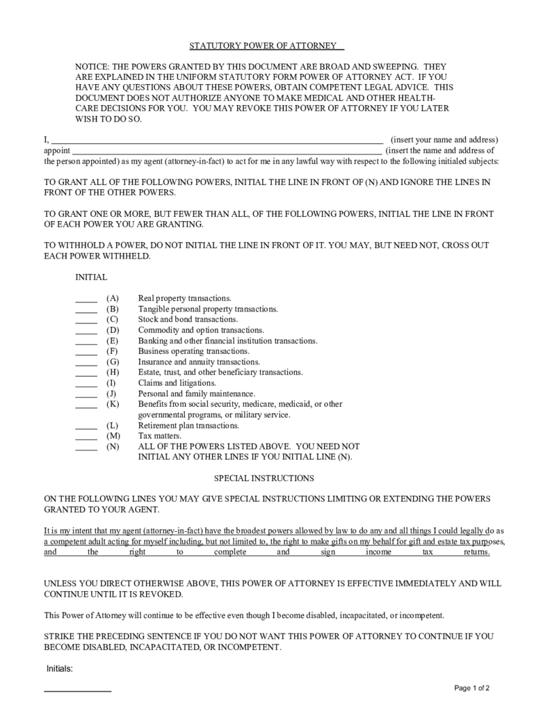 Statutory Power of Attorney Form - 31 Free Templates in PDF, Word ...