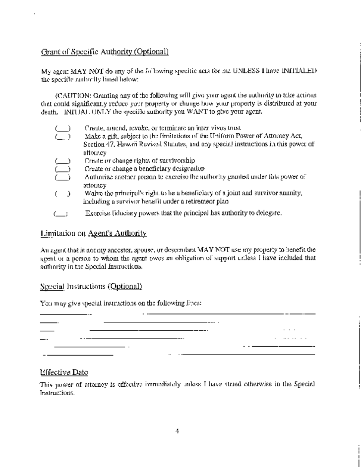 Statutory Form Power Of Attorney Hawaii Free Download