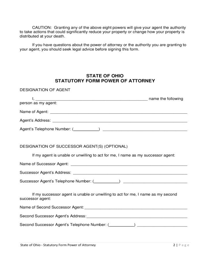 Statutory Form Power Of Attorney Ohio Free Download